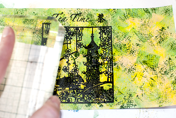 Stamping Over Watercolor & Ink