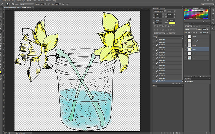 Coloring Daffodil Image in PhotoShop
