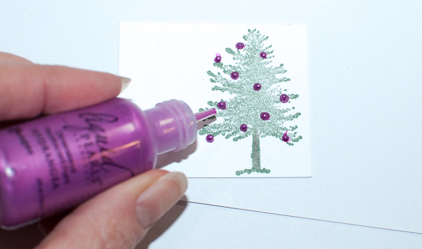 Embellish Stamped Pine Tree with Liquid Pearls